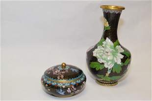 20th C Chinese Cloisonne Vase and Box