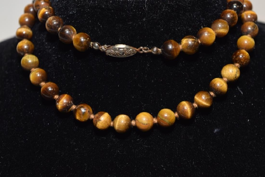 Tiger's Eye Stone Bead Necklace - 2