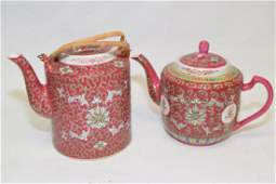 Two 20th C. Chinese Famille Rose Teapots
