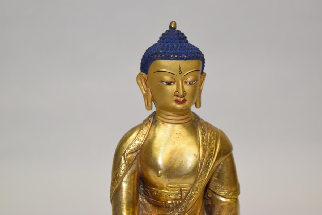 19-20th C. Chinese Gilt Bronze Buddha - 2