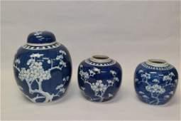Three Chinese Blue and White Plum Jars