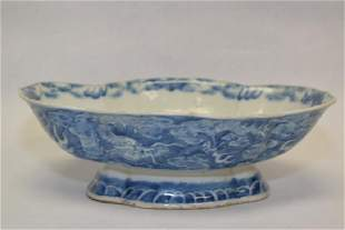 Large Qing Chinese Blue and White Dragon Bowl
