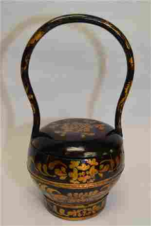 Qing Chinese Gold Enameled Lacquer Snack Box