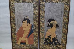 Pair of 1920th C Japanese Ukiyoe Prints after S