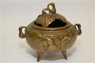 1920th C Chinese Bronze Gourd Incense Burner