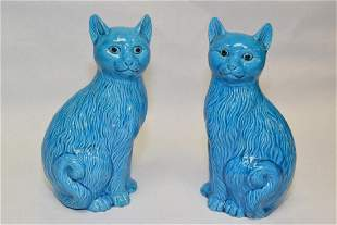 Pair of Chinese Peacock Blue Glaze Cats