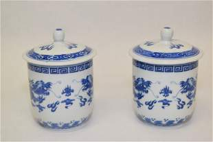 Pair of 20th C Chinese Blue and White Dragon Cups