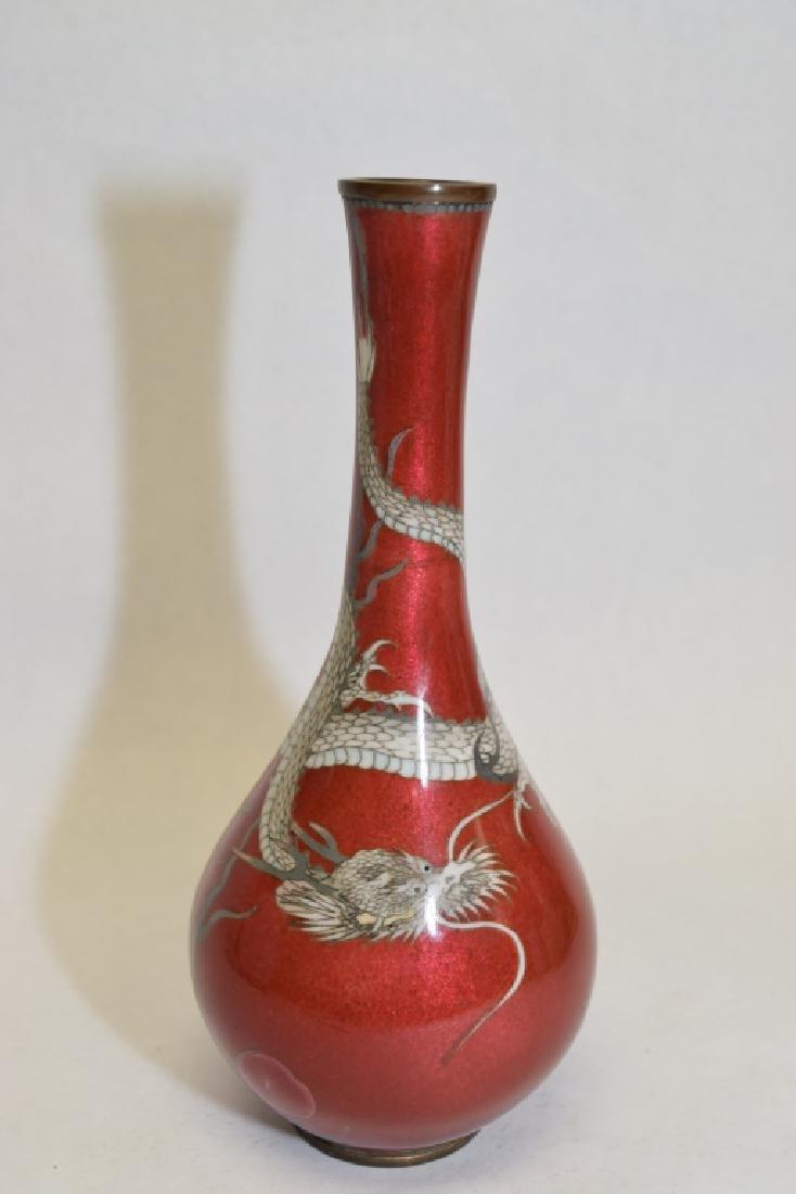 19th C. Japanese Red Dragon Cloisonne Vase