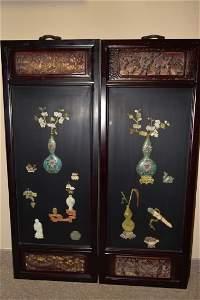 Pair of Chinese Cloisonne & Soapstone Hongmu Plaqu