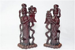 Pair of 18-19th C. Chinese Dark Amber Carved Maide