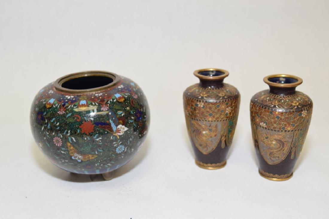Three 19-20th C. Japanese Cloisonne Vases