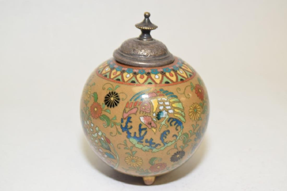19-20th C. Japanese Silver Cover Cloisonne Jar