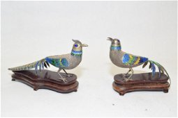 Pair of 20th C. Chinese Enamel over Silver Pheasan