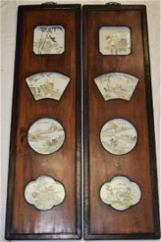 Pair of 19th C. Chinese Famille Verte Plaque Scree