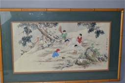 Chinese Watercolor Painting of Children Playing, Signed