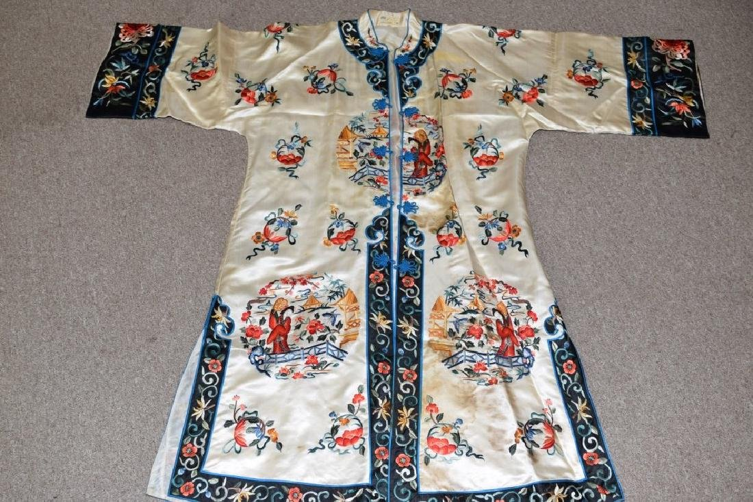 Qing Chinese White Embroidered Robe