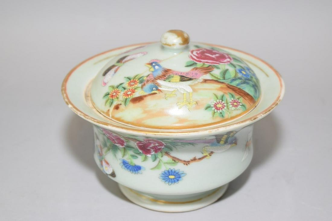 18-19th C. Chinese Export Pea Glaze Famille Rose Bowl