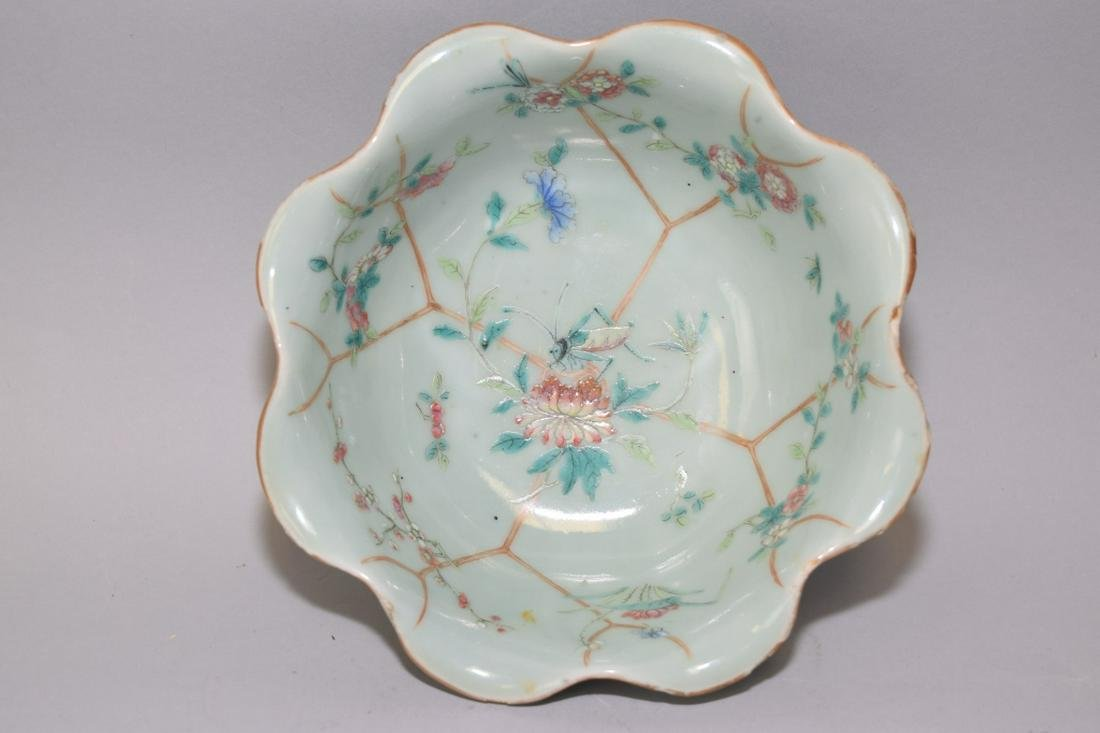 18-19th C. Chinese Pea Glaze Famille Rose Bowl