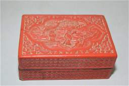 Qing Chinese Cinnabar Carved Box