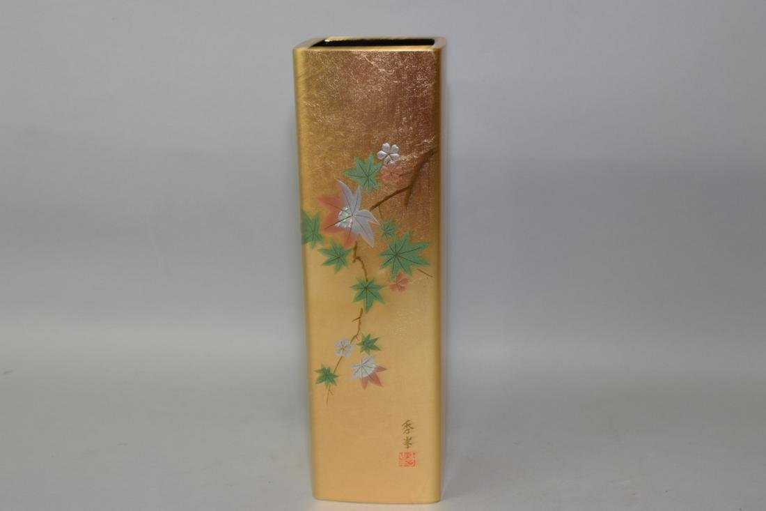 Japanese Gold Painted Lacquer Flower Vase