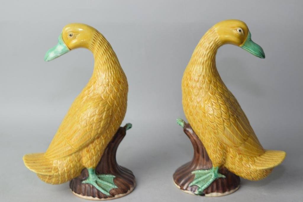 Pair of Late Qing Chinese Sancai Ducks