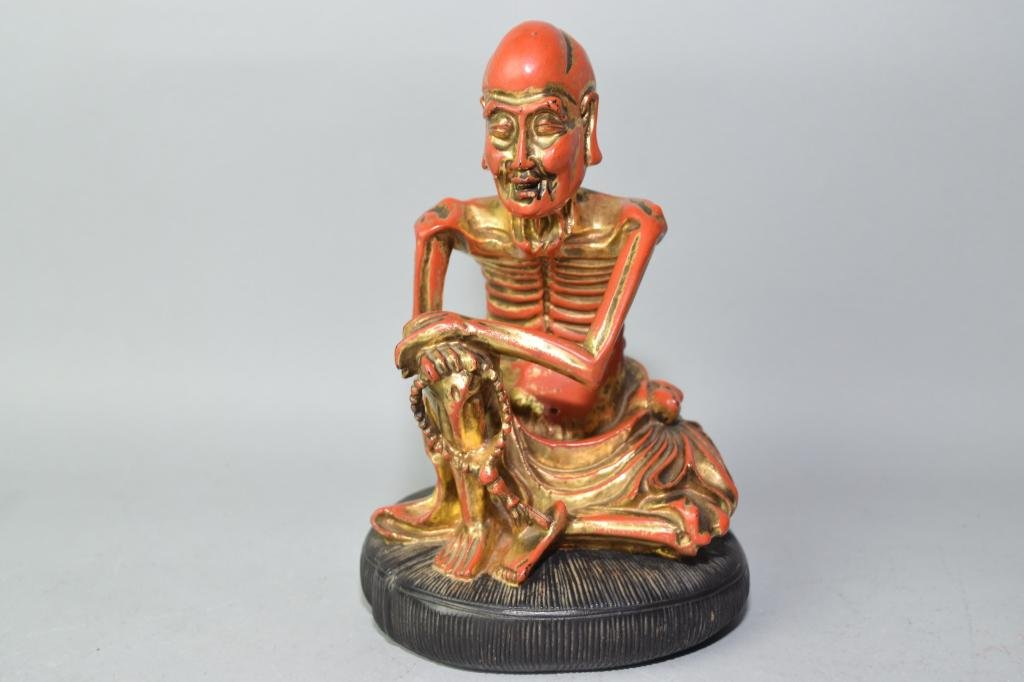 Qing Chinese Gilt Wood Carved Rohan
