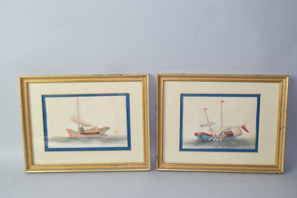 Pair of Qing Chinese Watercolor on Rice Paper
