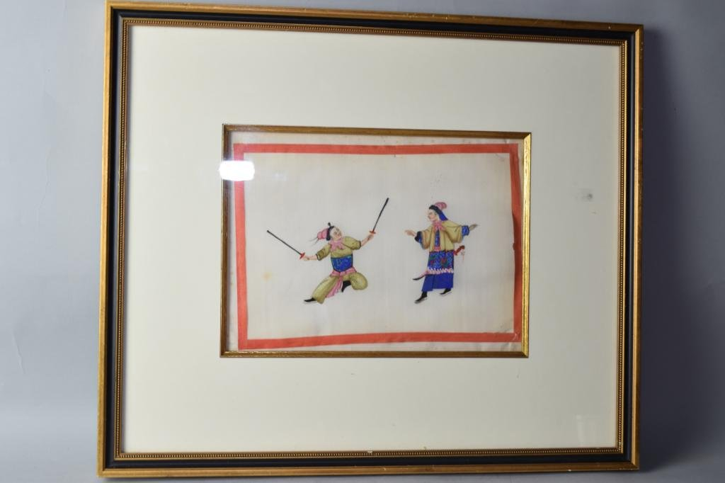 Qing Chinese Watercolor Painting on Rice Paper