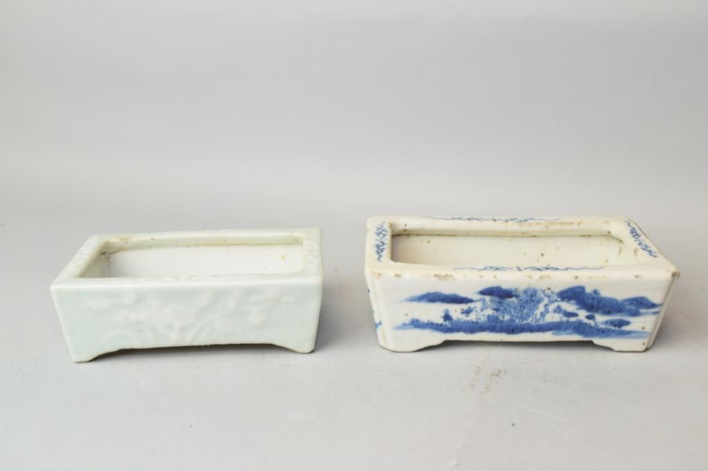 Two Qing Chinese Glaze Narcissus Flower Pots