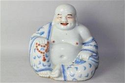 19th C. Chinese B&W Iron Red Buddha, Zhu MaoSheng