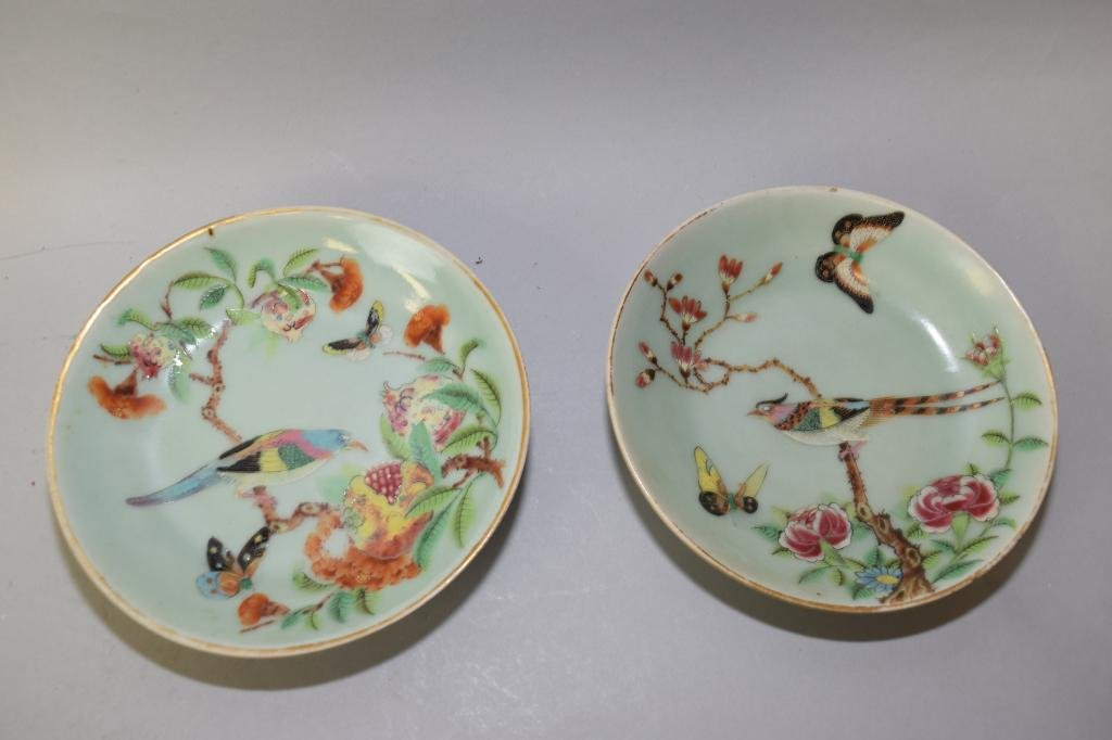 Two 18-19th C. Chinese Pea Glaze Famille Rose Plates