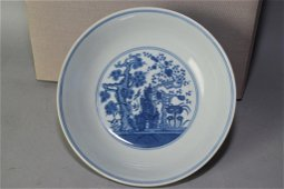 Daoguang Chinese B&W Winter Three Friend Plate