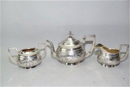 19th C. Chinese Sterling Silver Tea Set