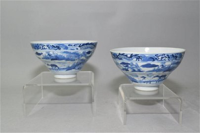 Pair of Qing Chinese B&W Ogee Bowls, Kangxi Mark