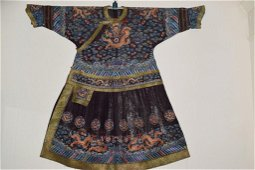 Qing Chinese Embroidered Silk Gauze Emperor's Robe