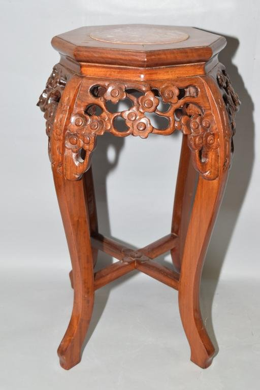 Chinese Marble Inlay Hardwood Carved Stand