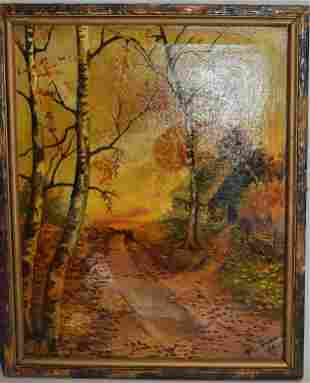 Country Road Oil Painting Signed P.L. Gusmu 1928