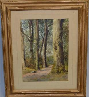 Anonymous Forest Road Watercolor in Frame
