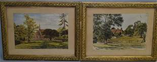 Pr. of Anonymous Countryside Watercolor in Frame