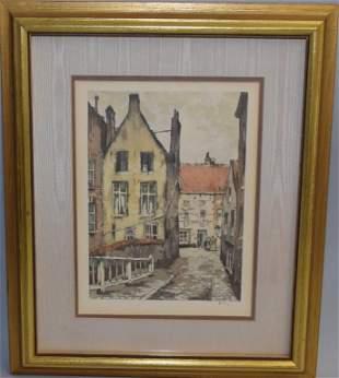 Street Scene Watercolor in Frame, Signed Belin