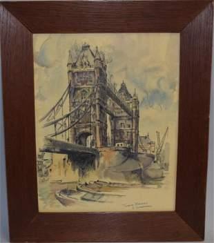 """""""Tower Bridge"""" Watercolor, Signed E. Shuddin"""