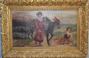 """""""Return from the Field"""" Oil on Canvas, Signed J.S."""