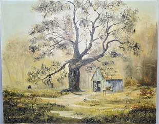 Country Cottage Oil on Canvas, Signed Busenworth