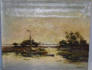 19th C. Landscape Oil on Canvas, Signed