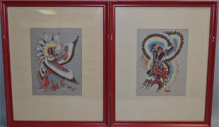 Two Native American Eagle Dancer Prints by Crumbo