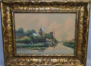 19th C. Watercolor of Countryside, Signed