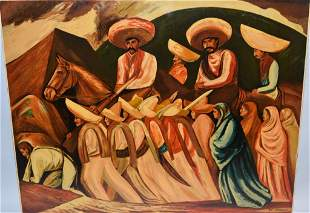 Zapatistas Oil on Board after Jose Clemente Orozco
