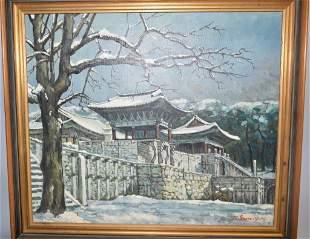 Seom Y.K . (1972) Korean Palace Oil on Canvas