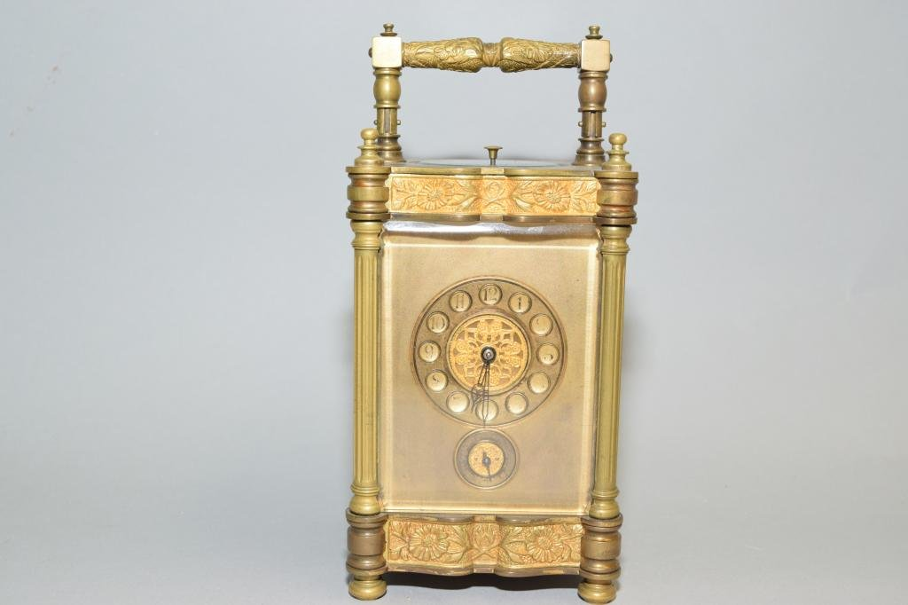 17-18th C. French Gilt Bronze Carriage Clock