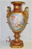 Exquisite Large Sevres Vase, Painting Signed Morin